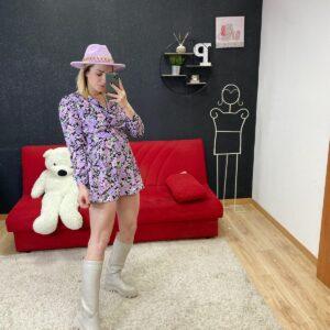 Abito Rosa Perrotta con fiori viola