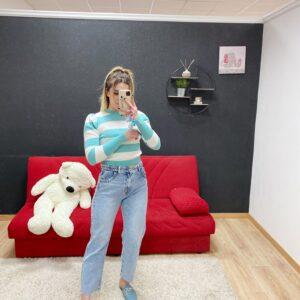 Jeans Boyfriend con trecce