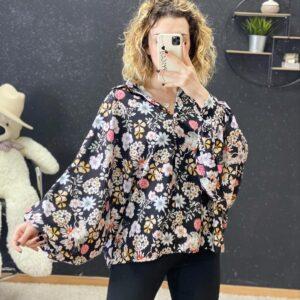 Camicia curvy black con fiori