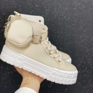 Sneakers con bustina beige