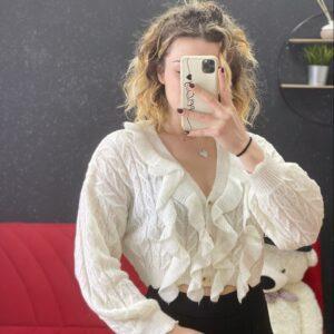 Cardigan con rouches white