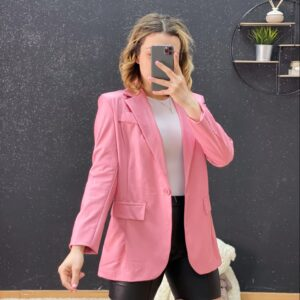 Blazer ecopelle rosa