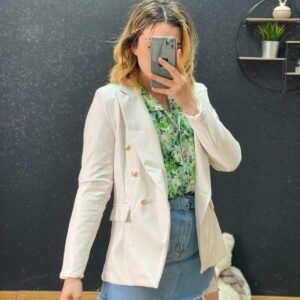 Blazer ecopelle con bottoni white