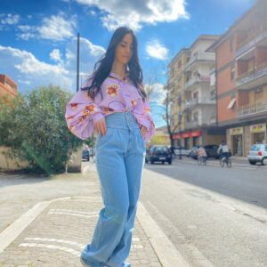 Jeans bustino a palazzo