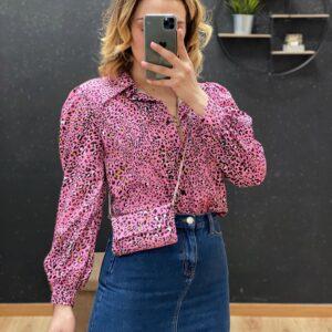 Camicia con pochette leopardata fucsia