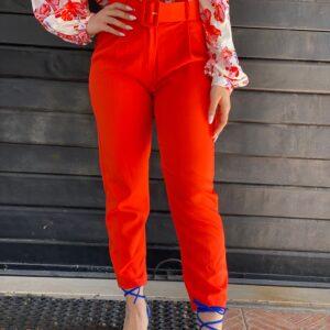 Pantalone con cinta arancio