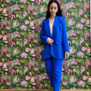 Pantalone con cinta blu elettrico