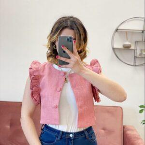 Gilet con rouches rosa