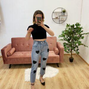 Jeans con cuori black