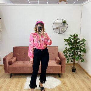 Body con fiori rosa