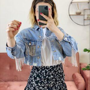 Giacca di jeans con strass