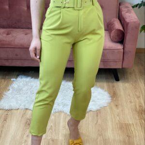 Pantalone con cinta verde pistacchio
