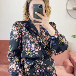 Camicia Esmeralda nera con fiori