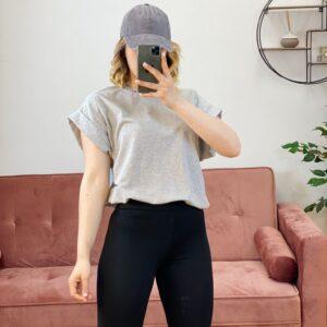 T-shirt con risvoltino grigia