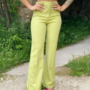 Pantalone a zampa pistacchio