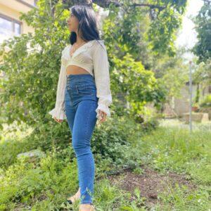 Jeans bustino a vita alta con bottoni