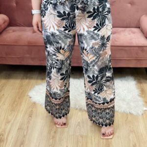 Pantalone a palazzo con fiori beige