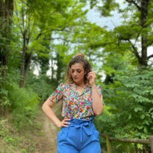 Camicia maxy colletto prato fiorito