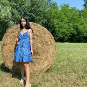 Abito Ludovica blu 100% seta indiana