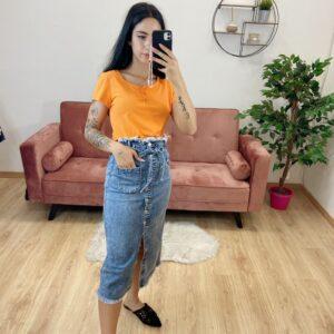 T-Shirt crop arancione