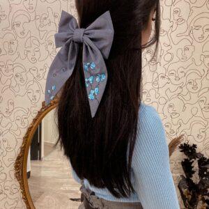 Fiocco Fiore Blu in cotone personalizzabile dipinto a mano