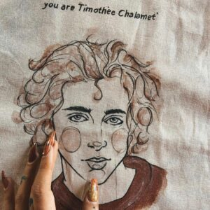 Shopper Chiamami con il tuo nome in cotone personalizzabile dipinta a mano