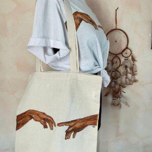 Shopper Frida in cotone personalizzabile dipinta a mano