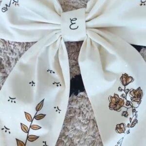 Fiocco Fiore in cotone personalizzabile dipinto a mano