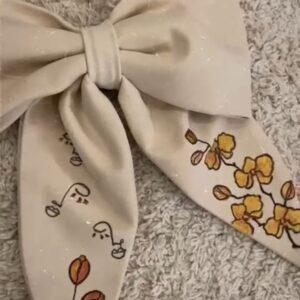 Fiocco Fiore Beige in cotone personalizzabile dipinto a mano