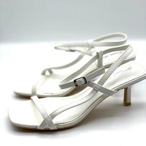 Sandalo tacco midi white