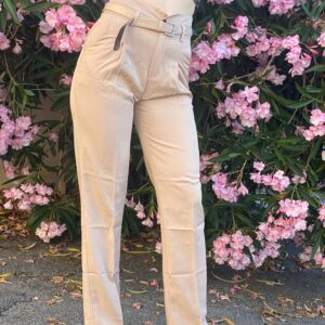 Pantalone con cinta beige
