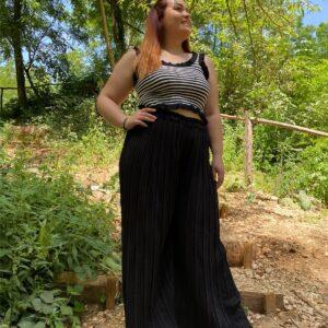 Pantalone a plisse black