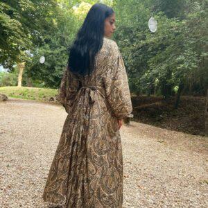 Kimono in seta indiana terra