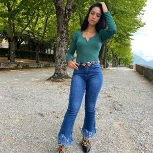 Jeans frangiato