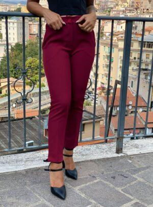 Pantalone a sigaretta bordeaux
