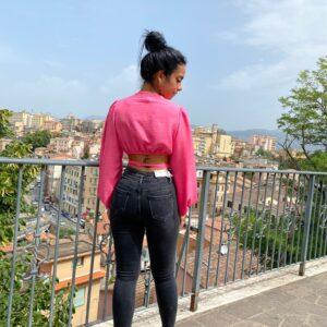 Jeans a vita altissima nero