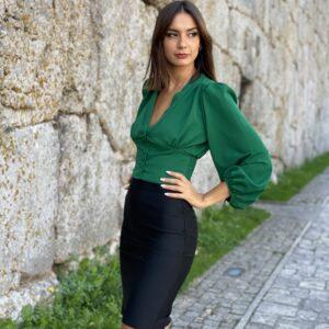 Blusa con bottoncini verde
