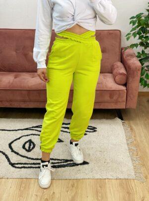 Pantalone di tuta con doppio elastico verde