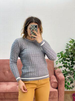 Maglione con trecce grigio