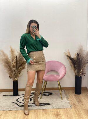 Camicia con piume verde