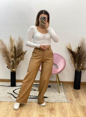 Pantalone a palazzo ecopelle beige