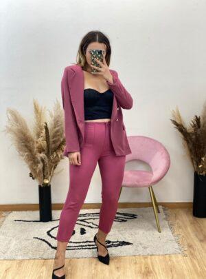 Pantalone a vita alta rosa